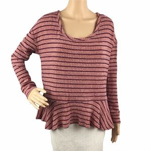 We the Free Auntie Em Thermal Peplum Top Size S Sedona Red Free People
